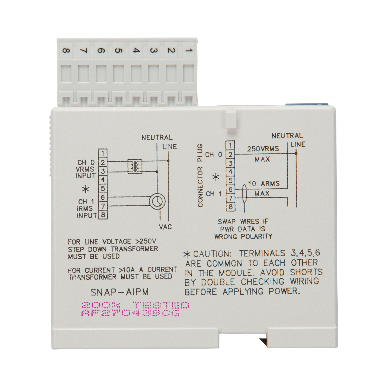 Opto22 Snap Aipm Single Phase Power Monitoring Module 4 Wire 250v Schematic Diagram Previous