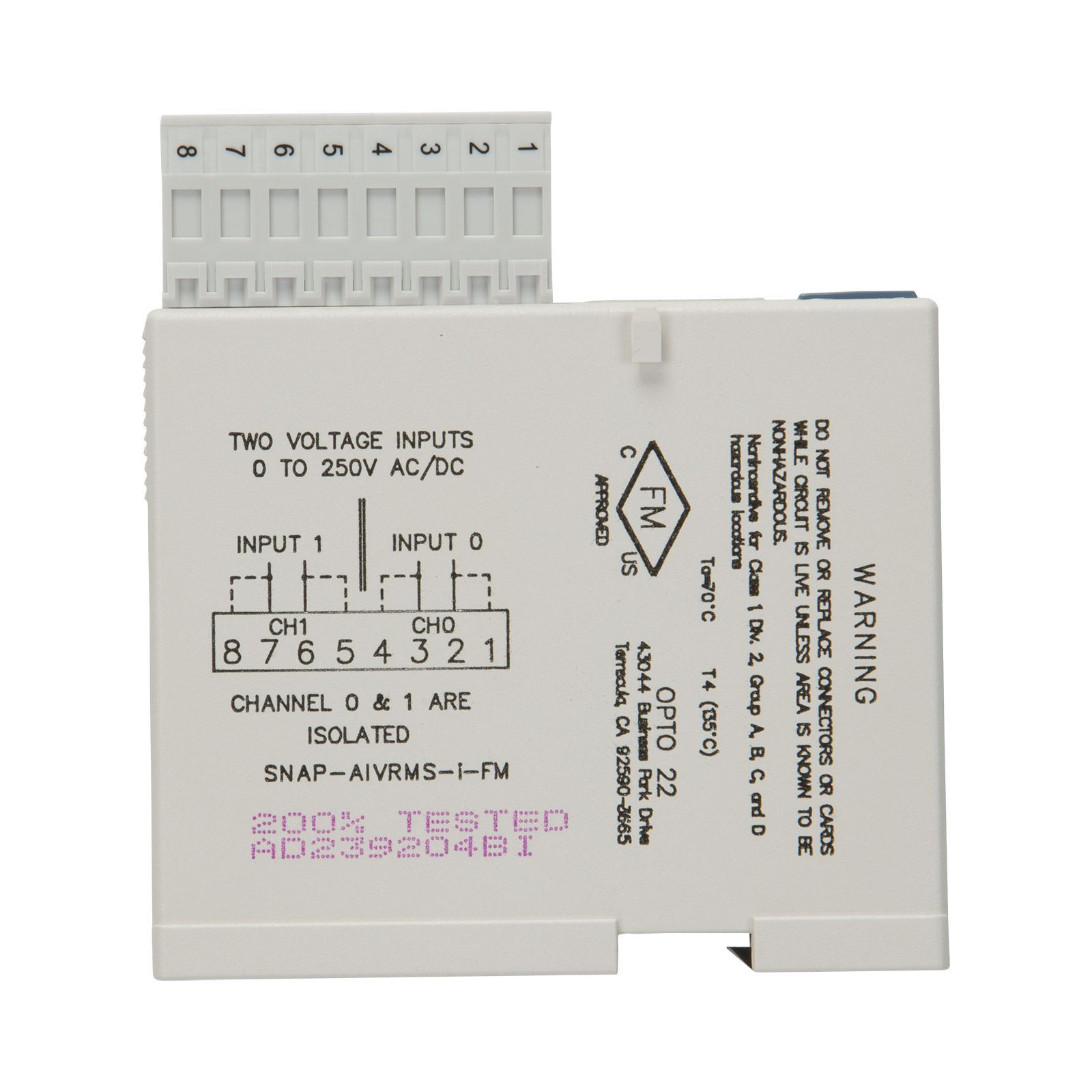 0-250 V RMS AC//DC Input 2 Isolated Channels SNAP Analog Input Module Opto 22 SNAP-AIVRMS-i
