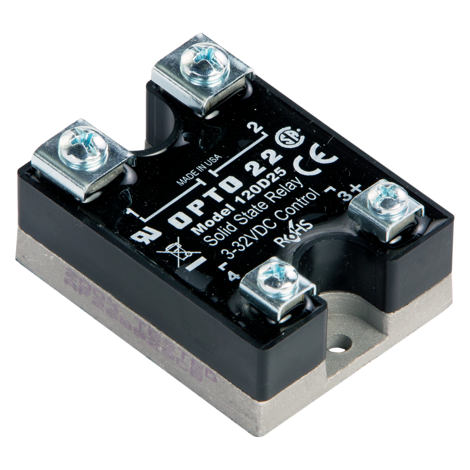 opto22 120d25 120 vac, 25 amp, dc control solid state relay (ssr)hover over image to zoom in